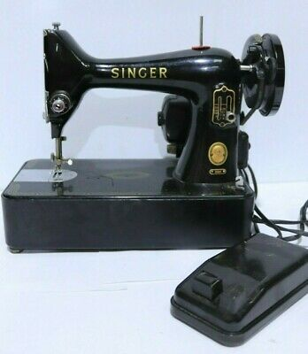 Antique SINGER 99K Black/Gold ELECTRICAL Mechanical Sewing Machine w/ Case - 254