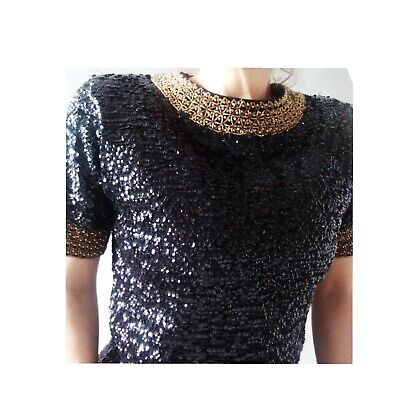 Vintage 50s-60s Pure Wool Sequin & Bead Short Sleeve Black Gold Evening Top 8-10