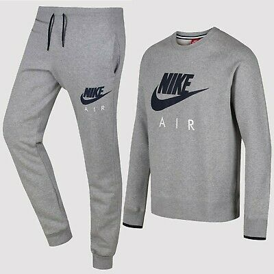 Nike Air  Crew Neck Mens Full Tracksuit Heather Grey Mens Sizes