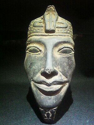 EGYPTIAN ANTIQUES ANTIQUITY Atum Sun God Face Sculpture Figure 1570-1077 BC