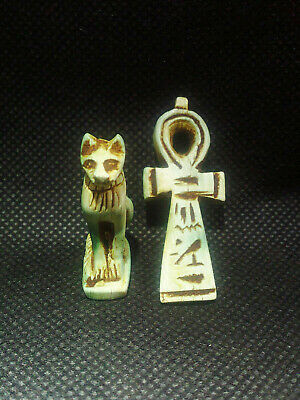 EGYPTIAN ANTIQUES ANTIQUITY 2 Amulet Amuletic Figure Pendant 1549-1124 BC