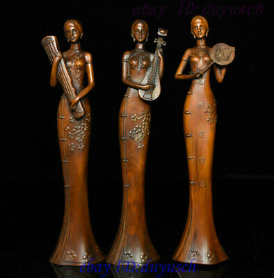 Old Chinese Boxwood Wood Carved Three beauty Woman Belle Hold Fan Qin Statue Set