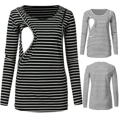 Pregnant Maternity Long Sleeve Striped Breastfeeding Nursing Tops T-Shirt Blouse
