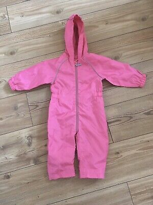 Pink girls Waterproof All-in-one Suit Age 12-18 Months VGC