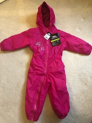 Tresspass Girls Dripdrop Waterproof All In One Pink Rain Suit Size 18-24 Months