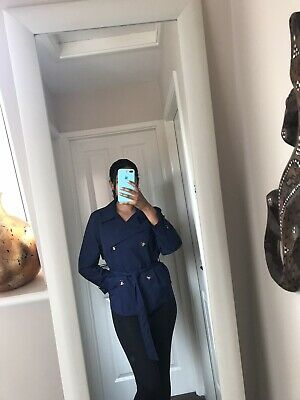 marks and spencer Gorgeous Coat New Navy Blue Trench Coat Slimming Size 16 M&S
