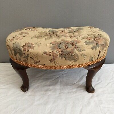 Vintage Small Foot Stool Queen Ann Feet Kidney Shaped Old Upholstered Footstool