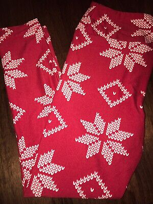 NEW Lularoe Kids S/M Christmas Leggings 2019 Red / Snowflakes