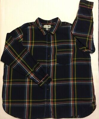 OLD NAVY Button Front Shirt Black Red Plaid Long Sleeves Classic Fit Mens Sz XXL