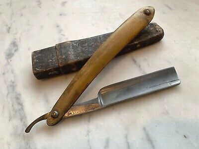 "Antique Wade & Butcher 6 1/2"" Straight Razor Real Horn Scales w/ Case"