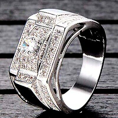 Big Mens Jewelry White Gold Filled Vintage Wedding Bands Silver Ring Size 10