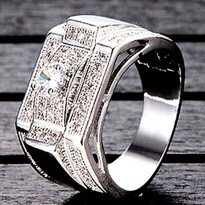 Big Mens Jewelry White Gold Filled Vintage Wedding Bands Silver Ring Size 7