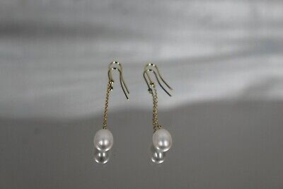 Authentic Tiffany & Co Elsa Peretti 18K Yellow Gold By The Yard Pearl Earrings