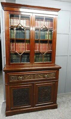 Antique Victorian Mahogany Secretaire  Bookcase Circa 1890