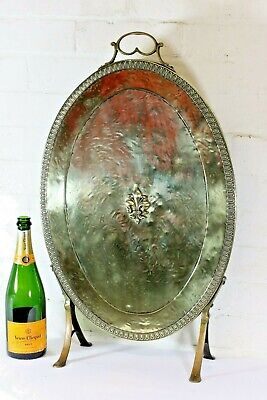 Antique French Brass Fire Guard Fireplace Screen Great Small Size and Shape