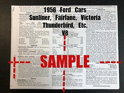 FORD 1956 All Cars -Sunliner, Fairlane, Etc (V8 Car) Wiring Diagram+Tune Up Data