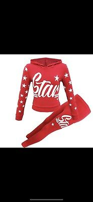 Brand New Kids Red Hooded 'star' Top And Leggings Set 13 Years