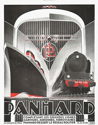 ART DECO PANHARD VINTAGE FRENCH ADVERT ORIGINAL 1932  by ALEXIS KOW GOOD COND.