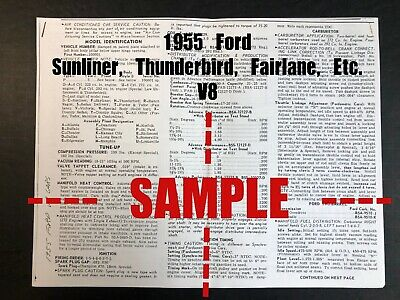 FORD 1955 All Cars -Sunliner, Fairlane, Etc (V8 Car) Wiring Diagram+Tune Up Data