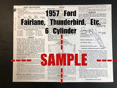 1957 FORD All Cars - Fairlane, Etc. (6 Cylinder Wiring Diagram+Tune Up Data)