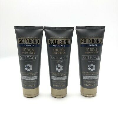 Lot Of 3 Pack New Gold Bond Ultimate Men's Essentials 5-in-1 Face Lotion 3.3oz