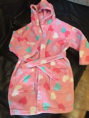 Girls Velour Towelling Bath Robe Dressing Gown Age 4-5 Years