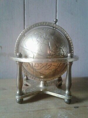 Antique/vintage brass nautical and astronomy design terrestrial globe with stand