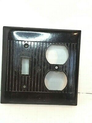 Vintage Sierra Ribbed Bakelite Toggle Switch Duplex Cover Plate brown