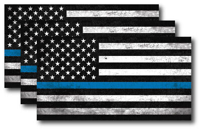 10 PCS Police Officer Thin Blue Line American Flag Stickers Graph Car Decal A1W2