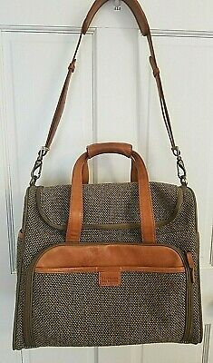 Hartmann Leather Tweed Collection Travel Duffel CarryOn Weekender Overnight Bag