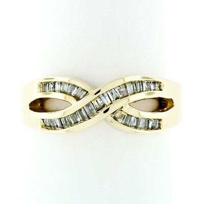 """Estate 14k Yellow Gold 0.56ctw Channel Baguette Diamond """"X"""" Infinity Band Ring"""