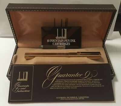 Vintage1980s Dunhill Gemline Classic Dress Fountain Pen 14K Nib Black Line Clip