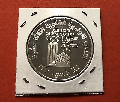 1980-Lebanon-10 Livres Silver Proof Coin,Winter Olympic..in High Grade Condition