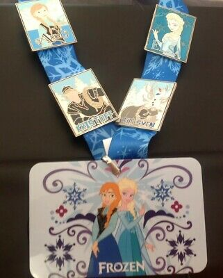Disney Frozen AUTHENTIC 4-Pin Trading Starter Set w Lanyard - Anna Elsa