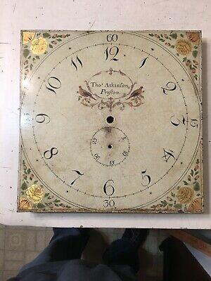 Antique Grandfather Clock Dial Painted Birds & Flowers Thos Atkinson Of Preston