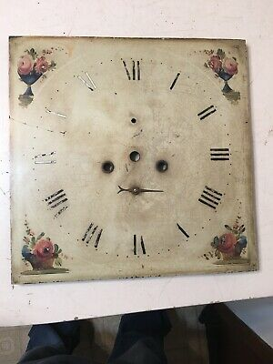 Antique Grandfather Clock Dial With Hand Painted Flowers In Vases & Baskets