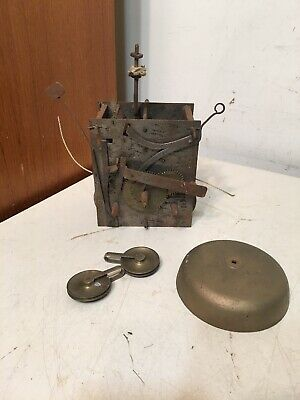 Rare Antique Grandfather Or Tallcase Clock Movement Woth Iron Plates