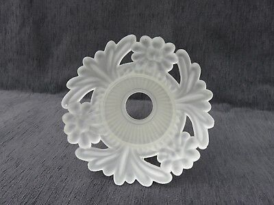 4 Art Deco Glass Shade With Ornate Lotus Flower Rimed Vintage