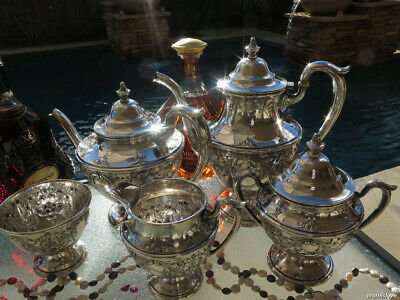 5pc OLD Sterling silver Tea Coffee SET DUNKIRK HEAVY LARGE HAND-CHASED REPOUSSE