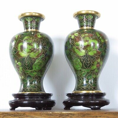 Chinese Cloisonné Vase Pair Beautiful Green Enamelled Brass Vases With Stands