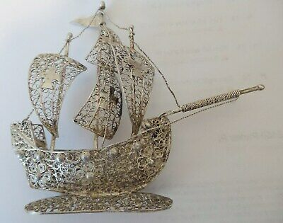 "Antique Sterling silver Filigree Maltese Miniature Sailing ship Vessel 5""LX4""H"