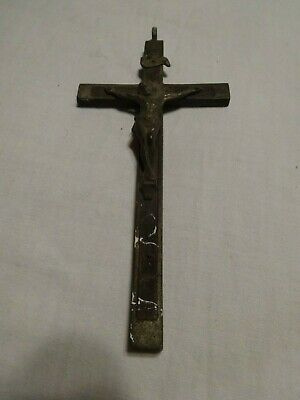 Vintage Antique Large Bronze Wood Crucifix Cross Jesus Pendant Handcrafted
