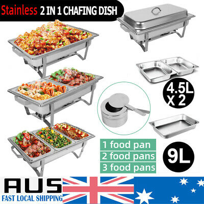 9L Bain Marie Bow Chafing Dish Stainless Steel Food Buffet Warmer Set 3 Types AU