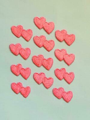 12 Small Iron On Pink Embroidered Double Heart Applique - Patch - IR7