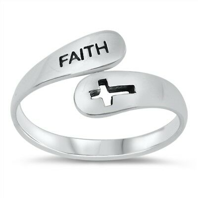 """NEW Sterling Silver 925 """"FAITH"""" CROSS DESIGN RING SIZES 5-10"""