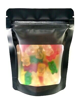 50 Pk Smell Proof Mylar Foil Bag 1/8 Eighth Plus Size & 1/2 Ounce 4 Mil Stand Up