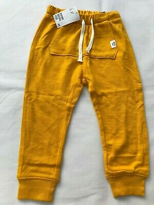 H&M Boy's NYC Joggers Sweatpants Elasticated Waist Yellow- SIZE 2-3 Years