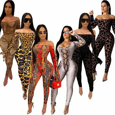 Women Colorful Print Boat Neck Long Flare Sleeves Bodycon Club Long Jumpsuit 2pc