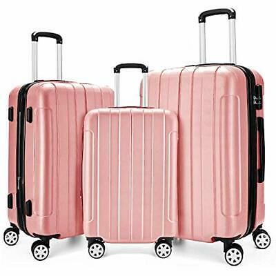 """Luggage Sets 3 Piece Expandable Spinner Lightweight Suitcase 20"""", 24"""", 28""""(Rose)"""
