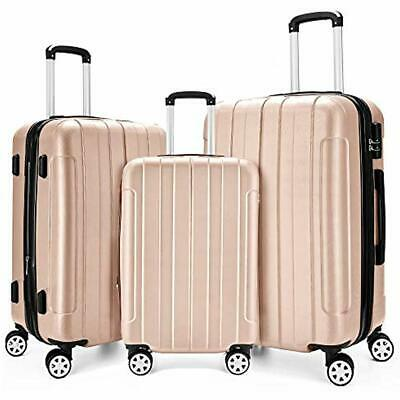 """Luggage Set 3 Piece Expandable Spinner Lightweight Suitcase20"""",24"""",28"""",Champagne"""